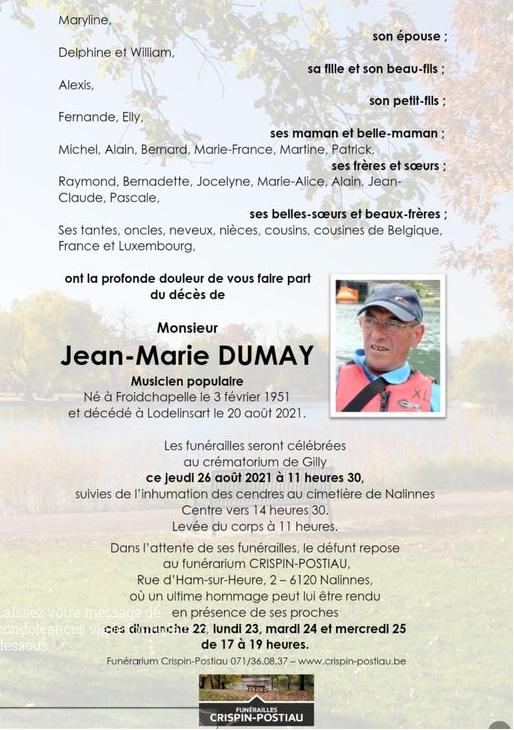 Décès de Jean-Marie Dumay